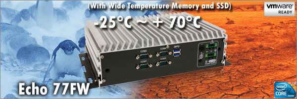 Wide Temperature Fanless small PC with 4 COM, 2 x Gb Lan, Wide Voltage, Intel Raid